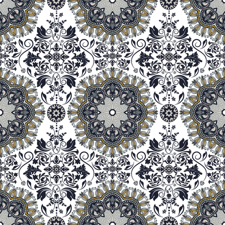 batik: Damask seamless pattern. Vector floral wallpaper, background Illustration