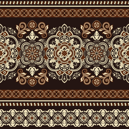 ornamental: Striped seamless pattern. Colorful floral ornamental wallpaper