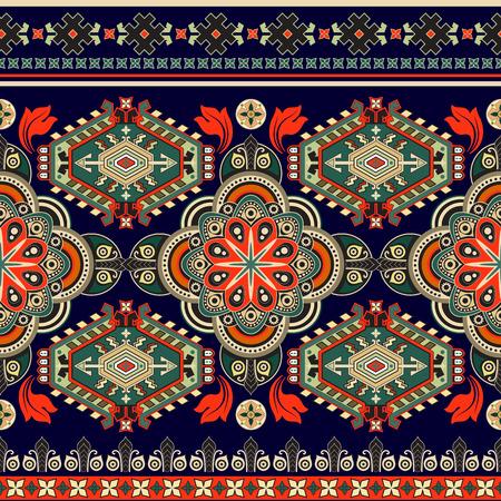 ストライプのシームレスなパターン。カラフルな花の装飾の壁紙