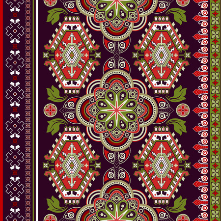 persian art: Striped seamless pattern. Colorful floral ornamental wallpaper