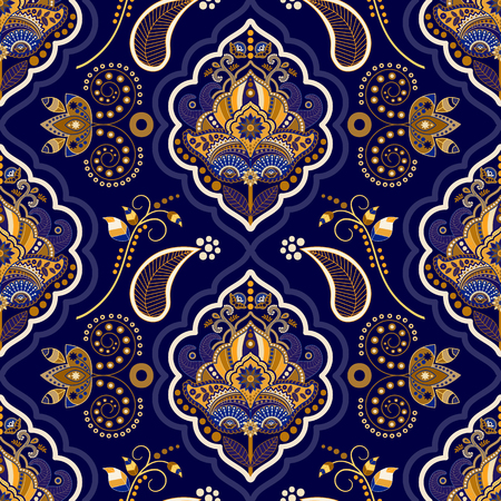 textiles: Striped seamless pattern. Colorful floral ornamental wallpaper