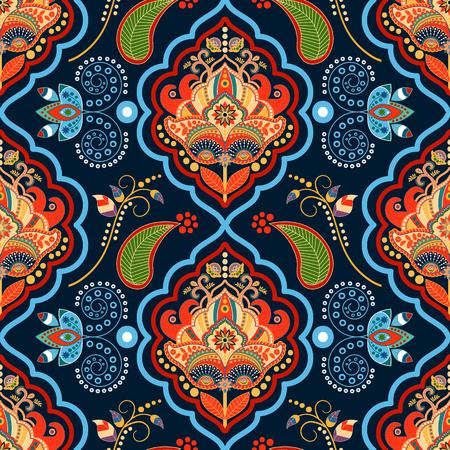 batik: Striped seamless pattern. Colorful floral ornamental wallpaper