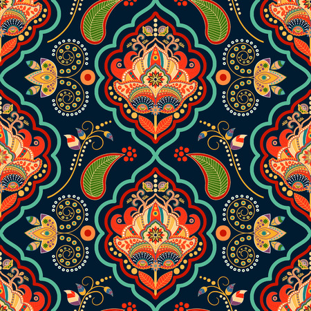 Striped seamless pattern. Colorful floral ornamental wallpaper