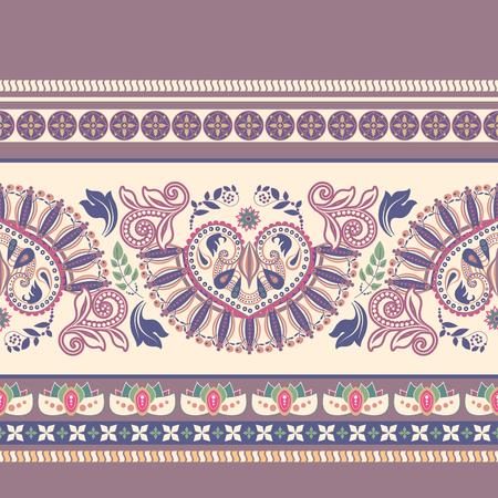 Striped seamless pattern. Floral decorative wallpaper, decor border