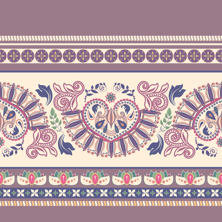 Striped seamless pattern. Floral decorative wallpaper, decor border