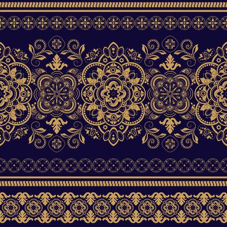 batik: Striped seamless pattern. Decorative floral ornamental wallpaper