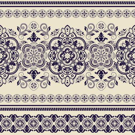 Striped seamless pattern. Decorative floral ornamental wallpaper