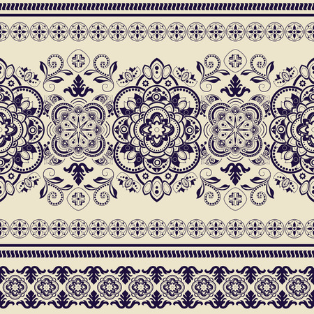 Striped seamless pattern. Decorative floral ornamental wallpaper