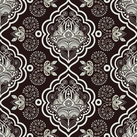 Vecteur de damassé de pattern. Monochrome vintage background