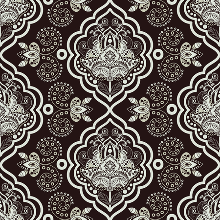 batik: Vector Damask seamless pattern. Monochrome vintage background