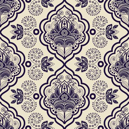 batik: Vecteur de damass� de pattern. Monochrome vintage background