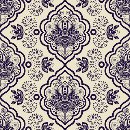 indonesian: Vector Damask seamless pattern. Monochrome vintage background