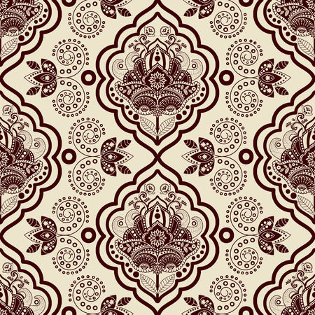 Vector Damask seamless pattern. Monochrome vintage background