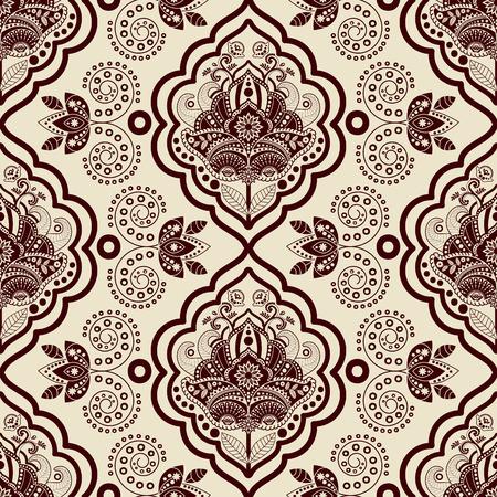 Vecteur de damassé de pattern. Monochrome vintage background Vecteurs