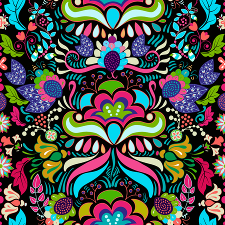 Bright colorful seamless pattern. Colorful flowers wallpaper
