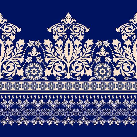 floral border: Floral border ornament. Damask seamless pattern for design