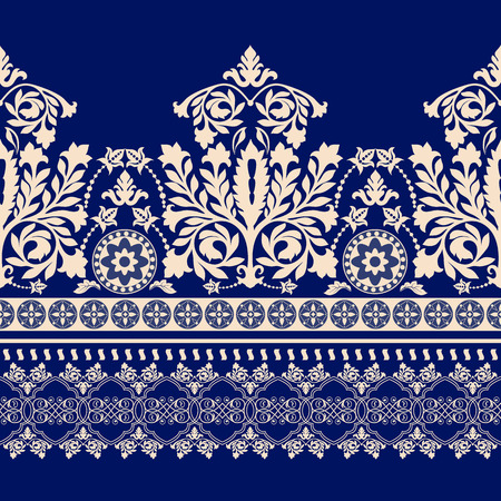 Floral border ornament. Damask seamless pattern for design