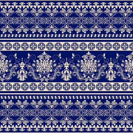 baroque border: Floral border ornament. Damask seamless pattern for design