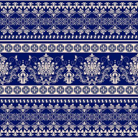 tatouage fleur: ornement Floral border. Damask seamless pattern pour la conception