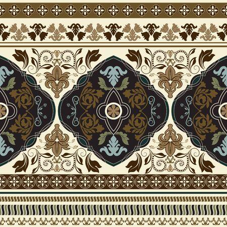 floral border: Paisley floral seamless pattern. Colorful vintage ornamental border