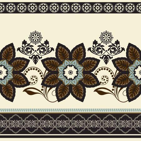 ornamental: Colorful flowers border. seamless pattern. Ornamental border Illustration