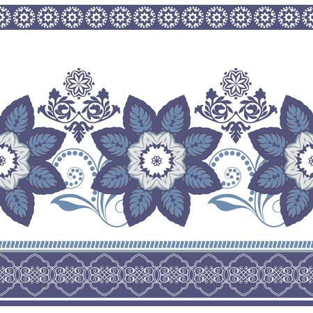 ornamental pattern: Colorful flowers border. seamless pattern. Ornamental border Illustration
