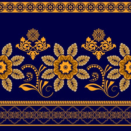 Colorful flowers border. seamless pattern. Ornamental border Illustration