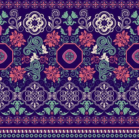 indische muster: Gestreifte nahtlose Muster. Bunte Blumen dekorative Tapete
