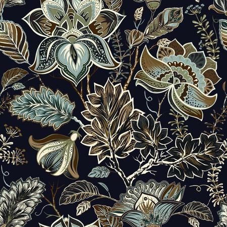 Modelo inconsútil oriental tradicional de Paisley. Florece el fondo de la vendimia. Ornamento decorativo telón de fondo de la tela, textil, papel de regalo, tarjeta, invitación, papel pintado, diseño de páginas web.