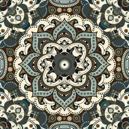 tibetian: Geometric seamless pattern. Colorful floral ornamental wallpaper