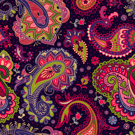 seamless: Paisley floral seamless pattern. Colorful seamless pattern Illustration