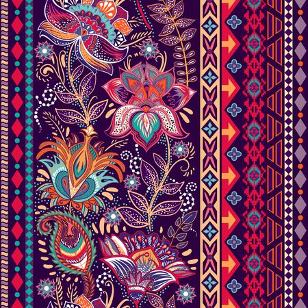 Vector colorful border. Floral decorative border. Seamless pattern