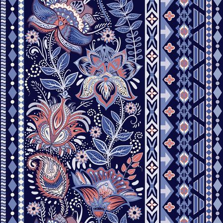 Colorful seamless pattern. Floral ornamental border. Floral wallpaper