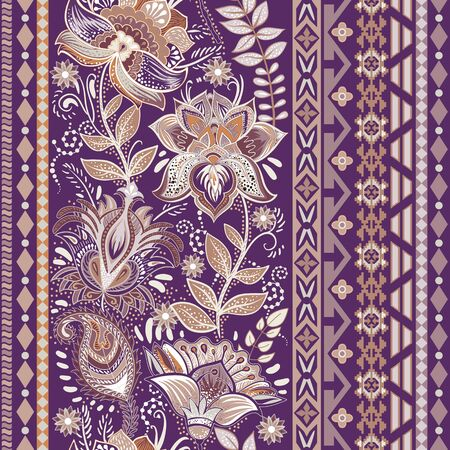 Colorful seamless pattern. Floral ornamental border. Floral wallpaper