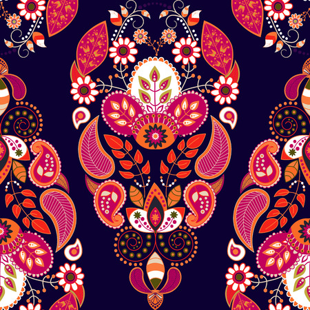 repeat pattern: Bright seamless pattern in paisley style. Colorful background