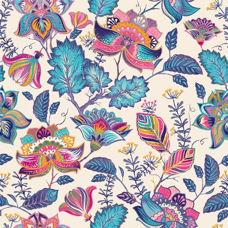 페이즐리 스타일에 밝은 원활한 패턴입니다. 화려한 배경