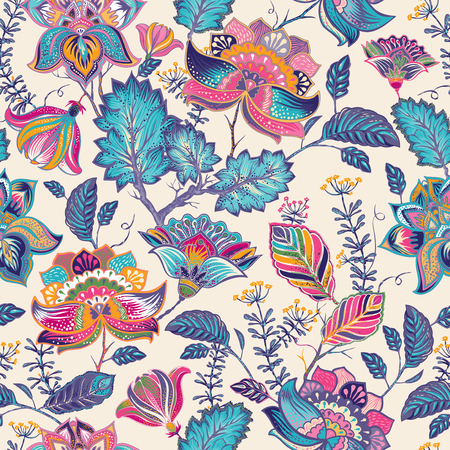 Bright seamless pattern in paisley style. Colorful background