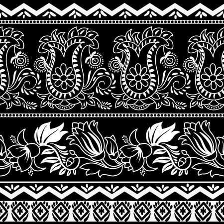 indische muster: Monochrome gestreifte Blumenmuster. Contour indische Muster. Paisley-Muster. Tapeten in zwei Farben