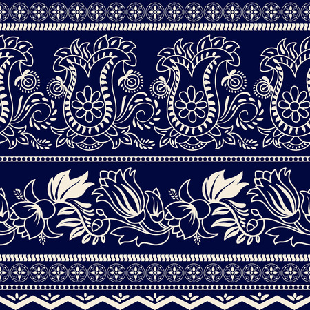 wallpaper floral: Monochrome striped floral pattern. Contour indian pattern. Paisley pattern. Wallpaper in two colors Illustration