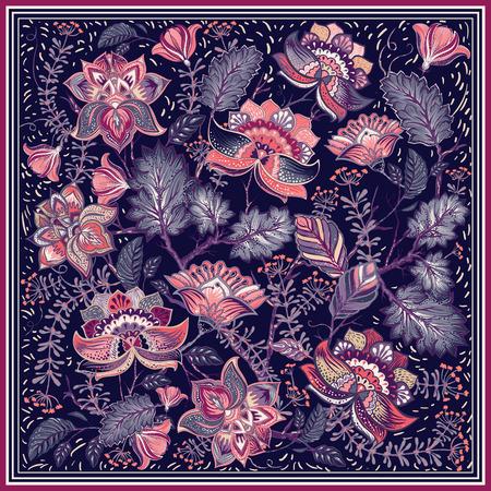 Ontwerp voor vierkante sjaal, textiel. Paisley ornament