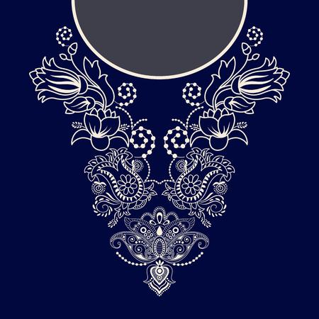 ontwerp voor de kraag shirts, overhemden, blouses. Twee kleuren etnische bloemen nek. Paisley decoratieve grens Vector Illustratie
