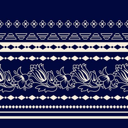 Lijnen Paisley naadloze patroon. Decoratieve rand van Paisley