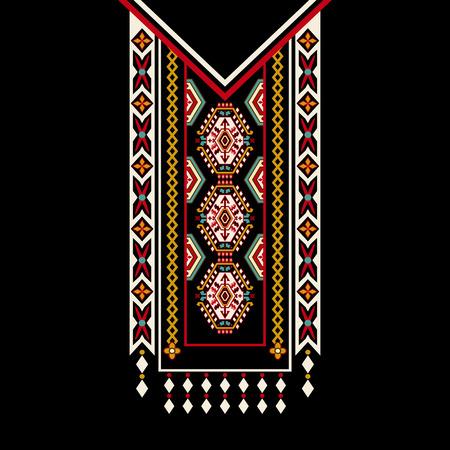 design for collar shirts, shirts, blouses. Colorful ornamental ethnic design Illustration