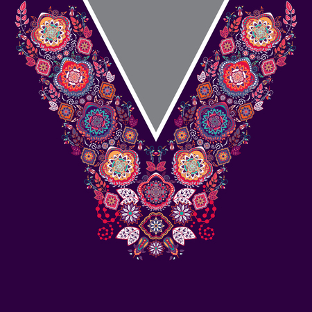 design for collar shirts, shirts, blouses. Ethnic flowers neck. Paisley decorative border