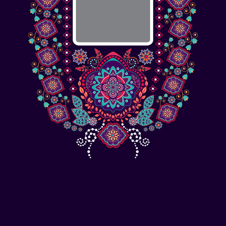 embroidery: design for collar shirts, shirts, blouses. Ethnic flowers neck. Paisley decorative border