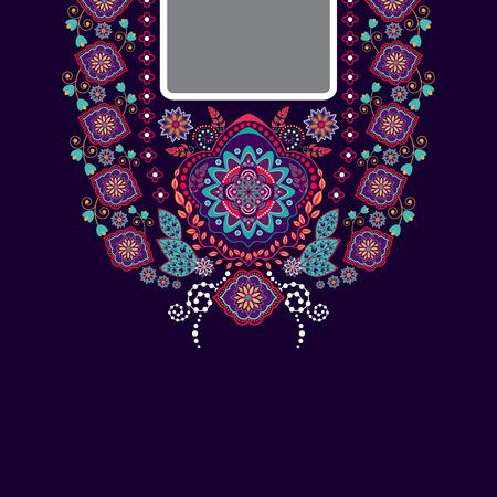 blouses: design for collar shirts, shirts, blouses. Ethnic flowers neck. Paisley decorative border