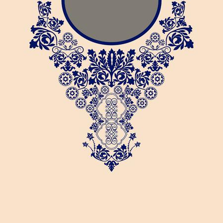 broderie: Deux couleurs ethniques du cou de fleurs. bordure décorative Paisley Illustration