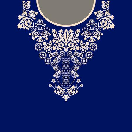 neckline: Two colors ethnic flowers neck. Paisley decorative border