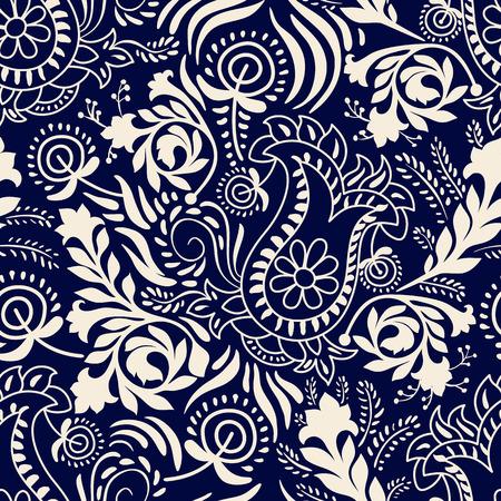 Vector seamless pattern. Monochrome Paisley wallpaper, floral pattern