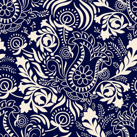 Vector naadloos patroon. Monochrome Paisley behang, bloemmotief